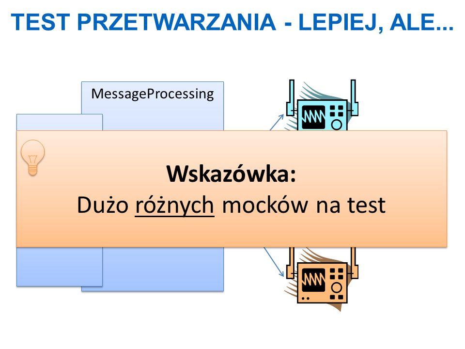 TEST PRZETWARZANIA - LEPIEJ, ALE... MessageProcessing For(msg) Wskazówka: Dużo różnych mocków na test Wskazówka: Dużo różnych mocków na test