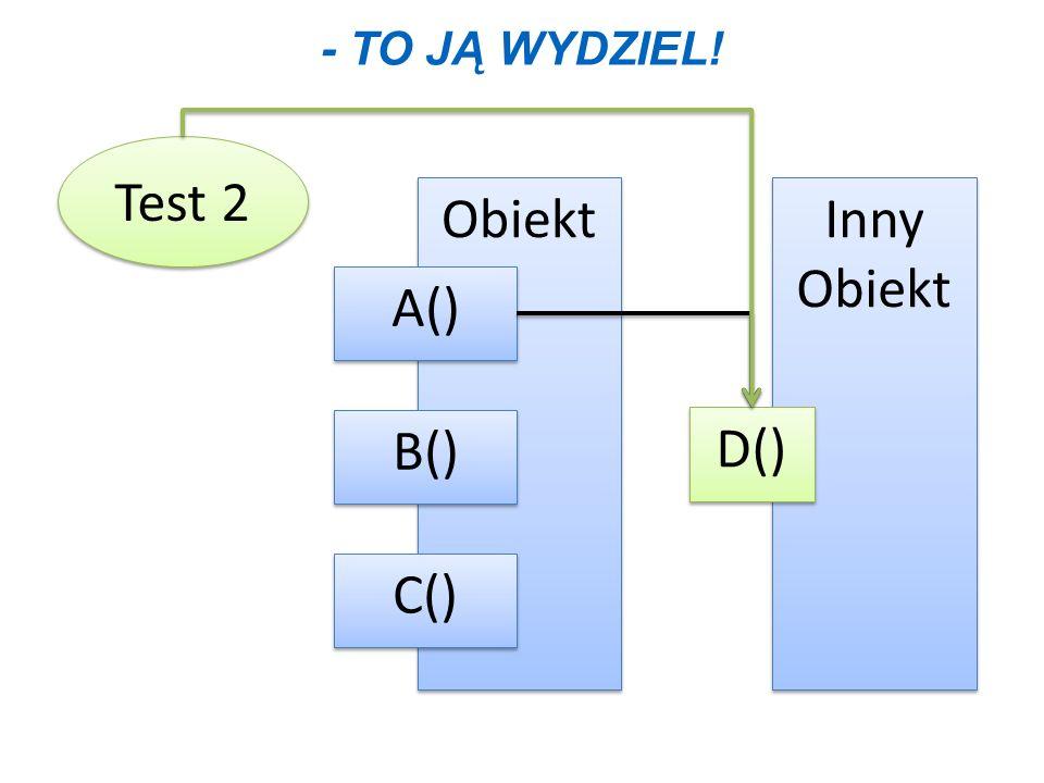 - TO JĄ WYDZIEL! Test 2 Obiekt B() C() A() Inny Obiekt Inny Obiekt D()
