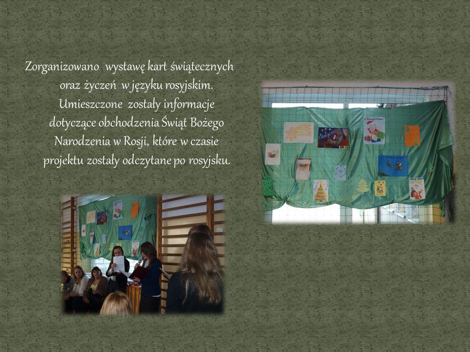 Zorganizowano wystawę kart świątecznych oraz życzeń w języku rosyjskim. Umieszczone zostały informacje dotyczące obchodzenia Świąt Bożego Narodzenia w