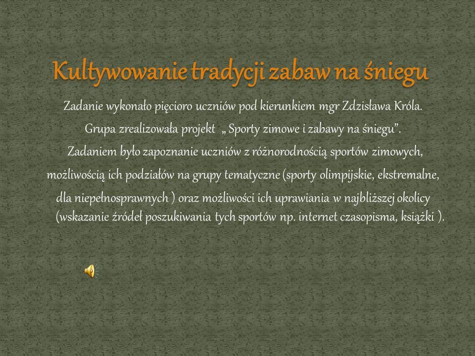 Zadanie wykonało pięcioro uczniów pod kierunkiem mgr Zdzisława Króla. Grupa zrealizowała projekt Sporty zimowe i zabawy na śniegu. Zadaniem było zapoz