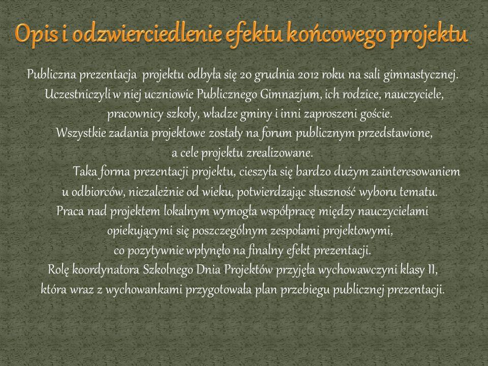 Publiczna prezentacja projektu odbyła się 20 grudnia 2012 roku na sali gimnastycznej. Uczestniczyli w niej uczniowie Publicznego Gimnazjum, ich rodzic