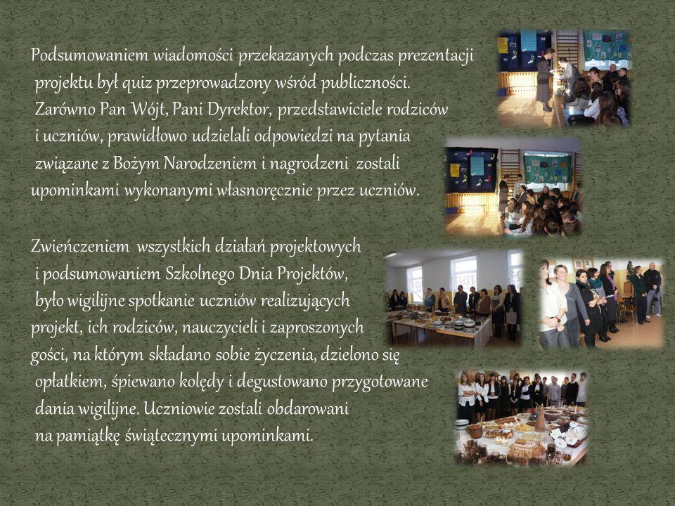 Podsumowaniem wiadomości przekazanych podczas prezentacji projektu był quiz przeprowadzony wśród publiczności. Zarówno Pan Wójt, Pani Dyrektor, przeds