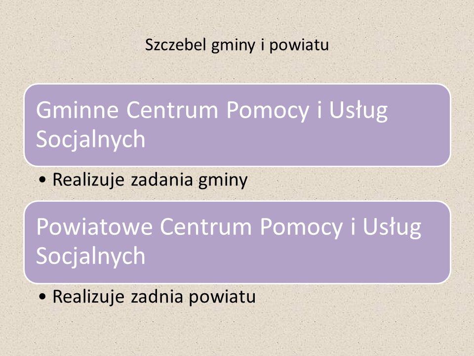 Szczebel gminy i powiatu Gminne Centrum Pomocy i Usług Socjalnych Realizuje zadania gminy Powiatowe Centrum Pomocy i Usług Socjalnych Realizuje zadnia
