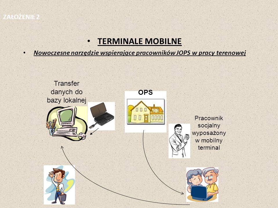 TERMINALE MOBILNE Nowoczesne narzędzie wspierające pracowników JOPS w pracy terenowej OPS Transfer danych do bazy lokalnej Pracownik socjalny wyposażo