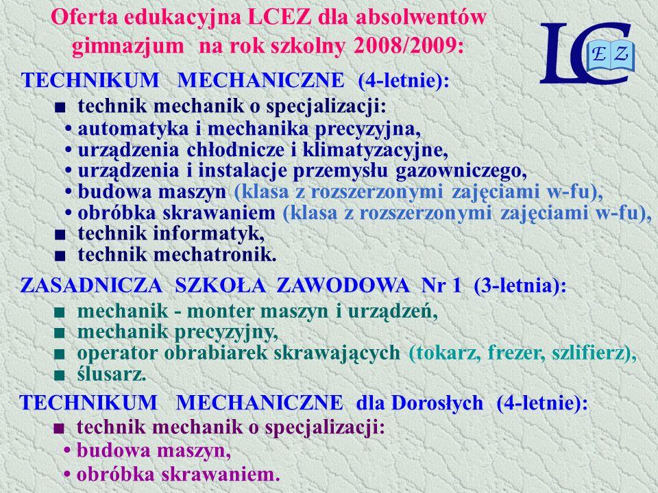 Oferta edukacyjna LCEZ dla absolwentów gimnazjum na rok szkolny 2008/2009: TECHNIKUM MECHANICZNE (4-letnie): technik mechanik o specjalizacji: automat