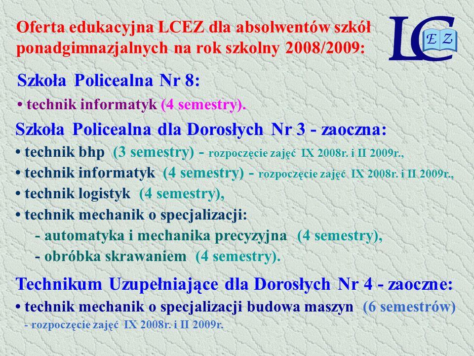 Oferta edukacyjna LCEZ dla absolwentów szkół ponadgimnazjalnych na rok szkolny 2008/2009: Szkoła Policealna Nr 8: technik informatyk (4 semestry). Szk