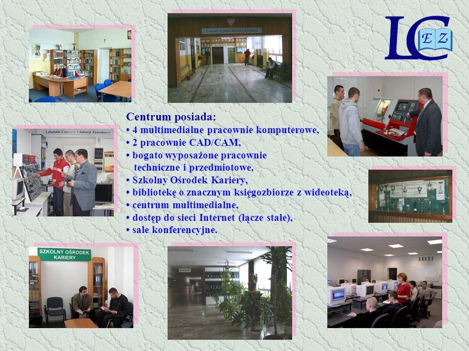 Centrum posiada: 4 multimedialne pracownie komputerowe, 2 pracownie CAD/CAM, bogato wyposażone pracownie techniczne i przedmiotowe, Szkolny Ośrodek Ka