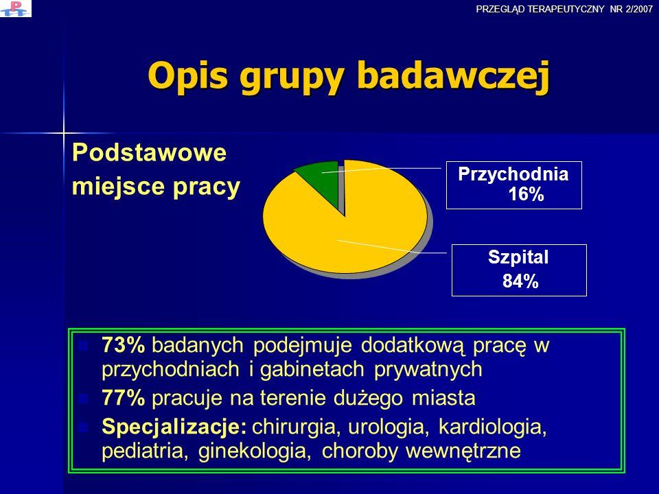 Doctors opinions on excessive workload by Ewa Kasperek-Golimowska Agata Woźniak The Department of Health Promotion and Psychotherapy Adam Mickiewicz University - Poznań PRZEGLĄD TERAPEUTYCZNY NR 2/2007