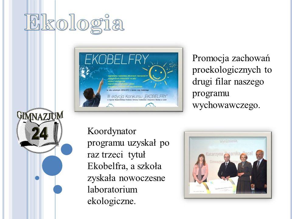 Promocja zachowań proekologicznych to drugi filar naszego programu wychowawczego. Koordynator programu uzyskał po raz trzeci tytuł Ekobelfra, a szkoła