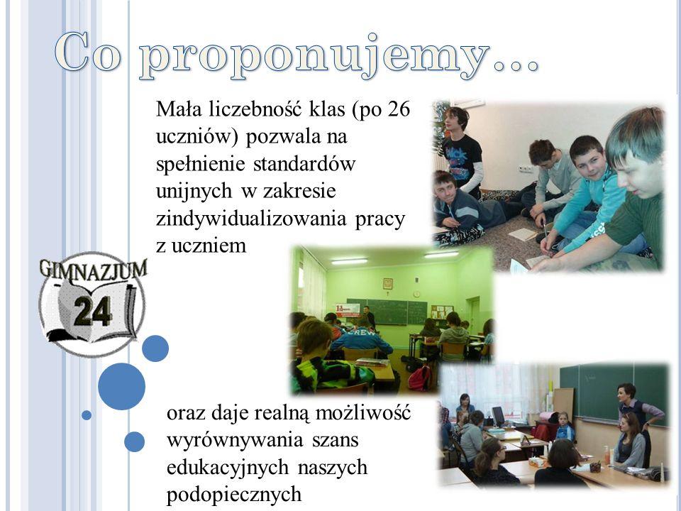 Mała liczebność klas (po 26 uczniów) pozwala na spełnienie standardów unijnych w zakresie zindywidualizowania pracy z uczniem oraz daje realną możliwo