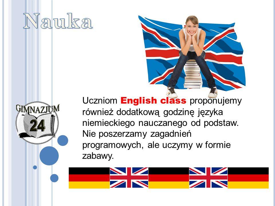 Uczniom English class proponujemy również dodatkową godzinę języka niemieckiego nauczanego od podstaw. Nie poszerzamy zagadnień programowych, ale uczy