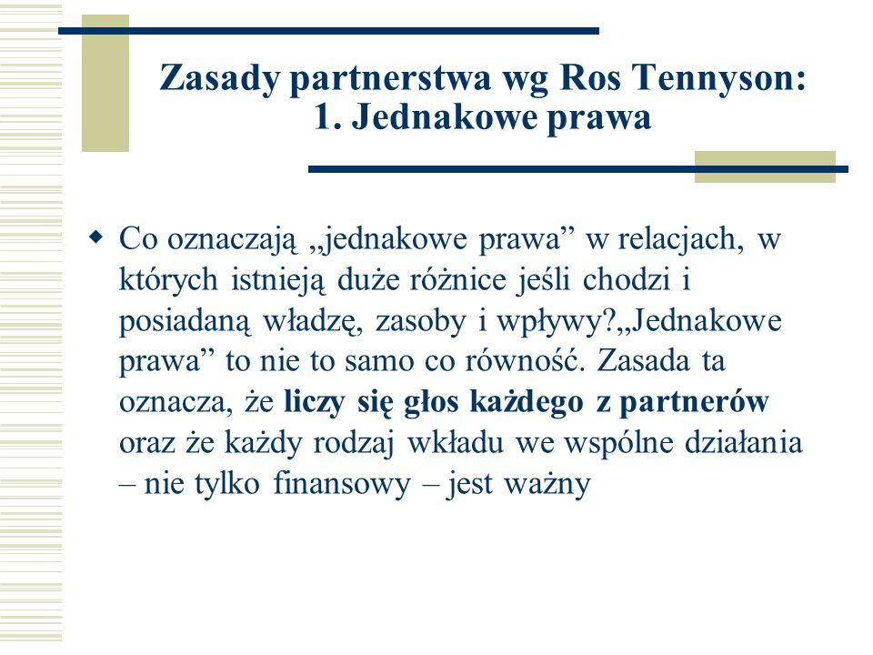 Zasady partnerstwa wg Ros Tennyson: 1.