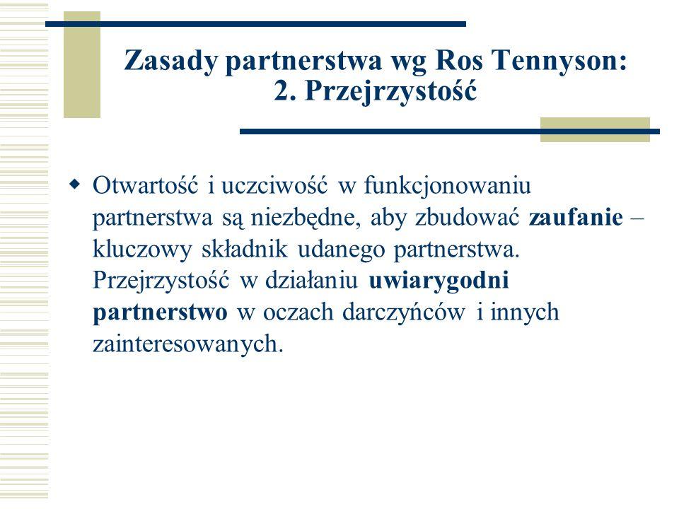 Zasady partnerstwa wg Ros Tennyson: 2.