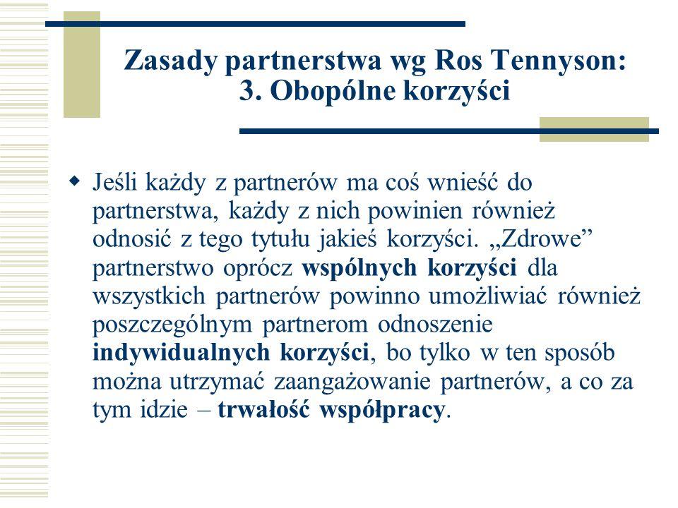 Zasady partnerstwa wg Ros Tennyson: 3.