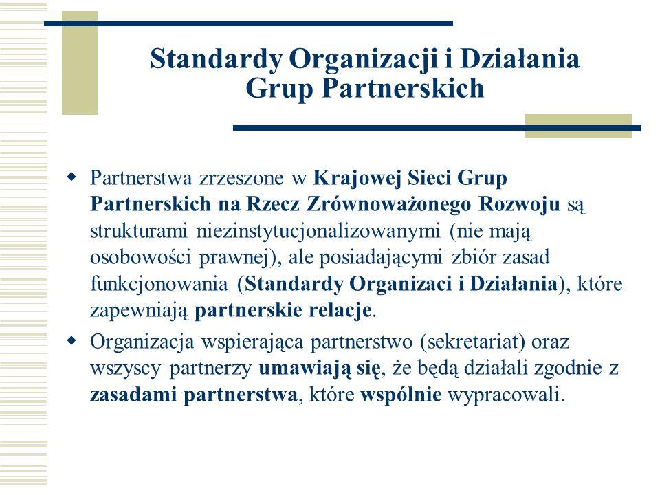 Standardy Organizacji i Działania Grup Partnerskich Partnerstwa zrzeszone w Krajowej Sieci Grup Partnerskich na Rzecz Zrównoważonego Rozwoju są strukturami niezinstytucjonalizowanymi (nie mają osobowości prawnej), ale posiadającymi zbiór zasad funkcjonowania (Standardy Organizaci i Działania), które zapewniają partnerskie relacje.