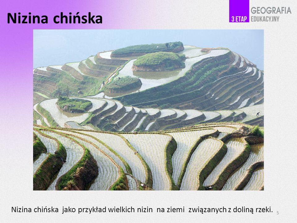 Nizina chińska Nizina chińska jako przykład wielkich nizin na ziemi związanych z doliną rzeki. 5
