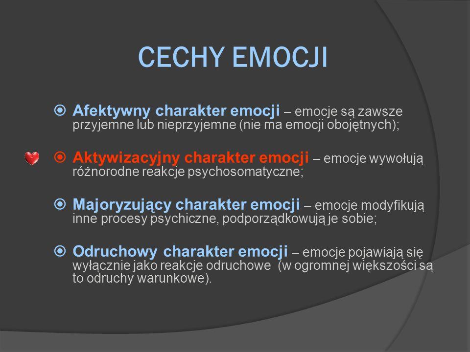 CECHY EMOCJI Afektywny charakter emocji – emocje są zawsze przyjemne lub nieprzyjemne (nie ma emocji obojętnych); Aktywizacyjny charakter emocji – emo