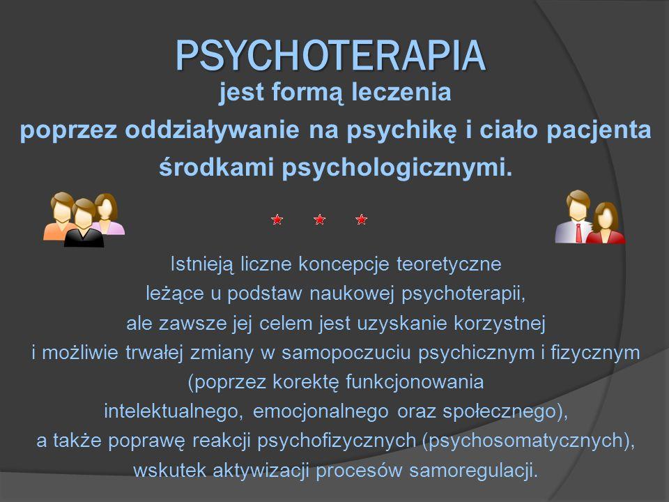 PSYCHOTERAPIA jest formą leczenia poprzez oddziaływanie na psychikę i ciało pacjenta środkami psychologicznymi. Istnieją liczne koncepcje teoretyczne