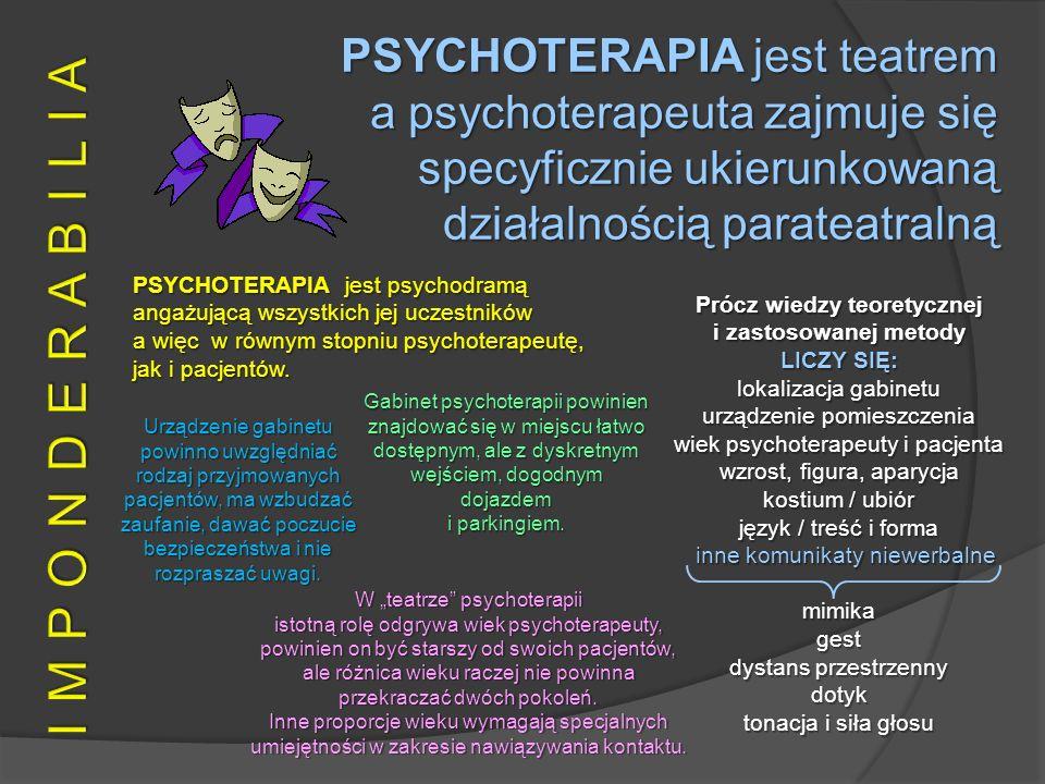 PSYCHOTERAPIA jest psychodramą angażującą wszystkich jej uczestników a więc w równym stopniu psychoterapeutę, jak i pacjentów. PSYCHOTERAPIA jest teat