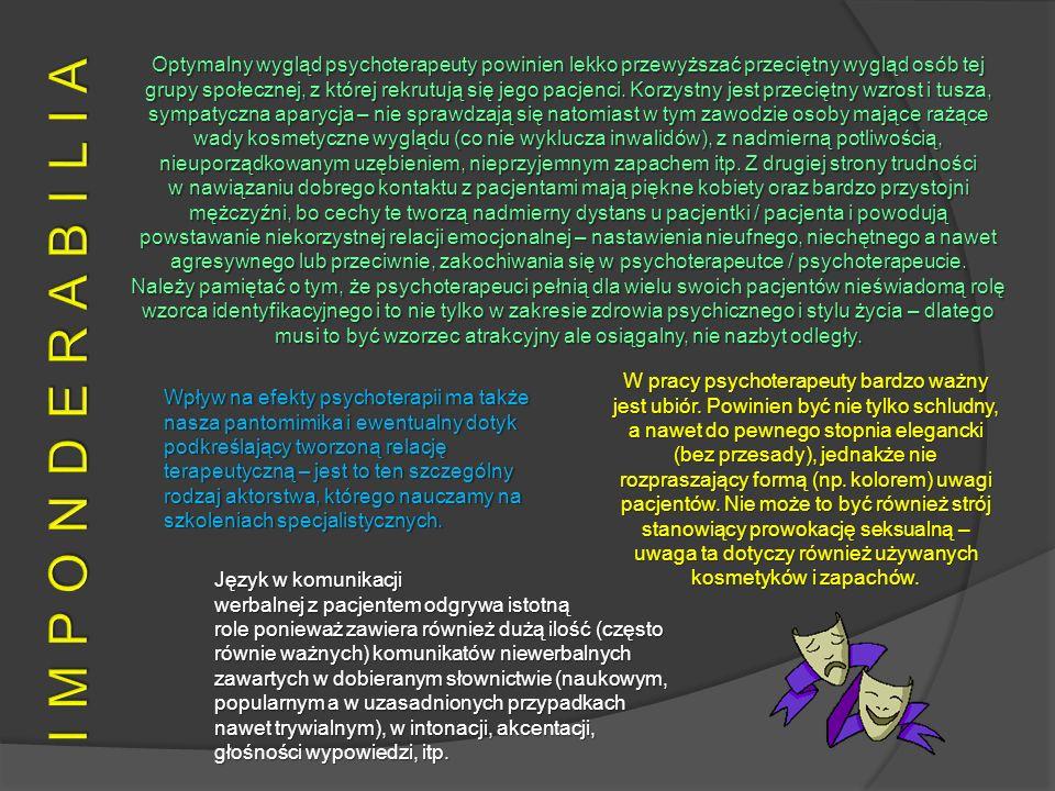 Optymalny wygląd psychoterapeuty powinien lekko przewyższać przeciętny wygląd osób tej grupy społecznej, z której rekrutują się jego pacjenci. Korzyst