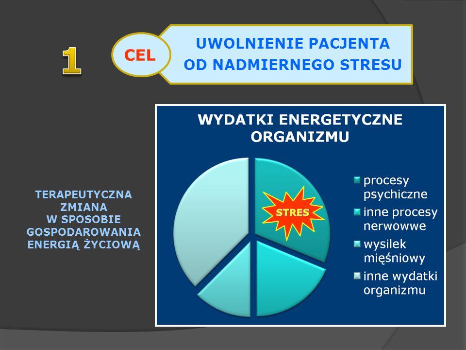 UWOLNIENIE PACJENTA OD NADMIERNEGO STRESU TERAPEUTYCZNA ZMIANA W SPOSOBIE GOSPODAROWANIA ENERGIĄ ŻYCIOWĄ CEL