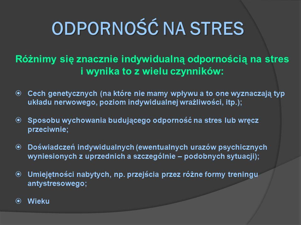 ODPORNOŚĆ NA STRES Różnimy się znacznie indywidualną odpornością na stres i wynika to z wielu czynników: Cech genetycznych (na które nie mamy wpływu a