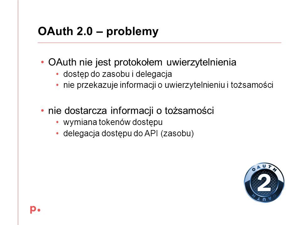 OAuth 2.0 – problemy OAuth nie jest protokołem uwierzytelnienia dostęp do zasobu i delegacja nie przekazuje informacji o uwierzytelnieniu i tożsamości
