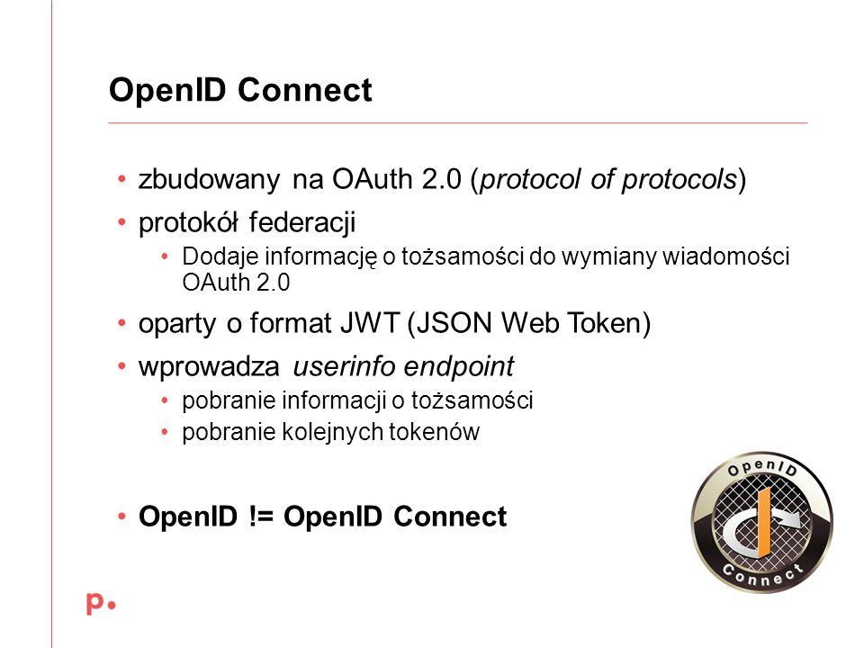 zbudowany na OAuth 2.0 (protocol of protocols) protokół federacji Dodaje informację o tożsamości do wymiany wiadomości OAuth 2.0 oparty o format JWT (