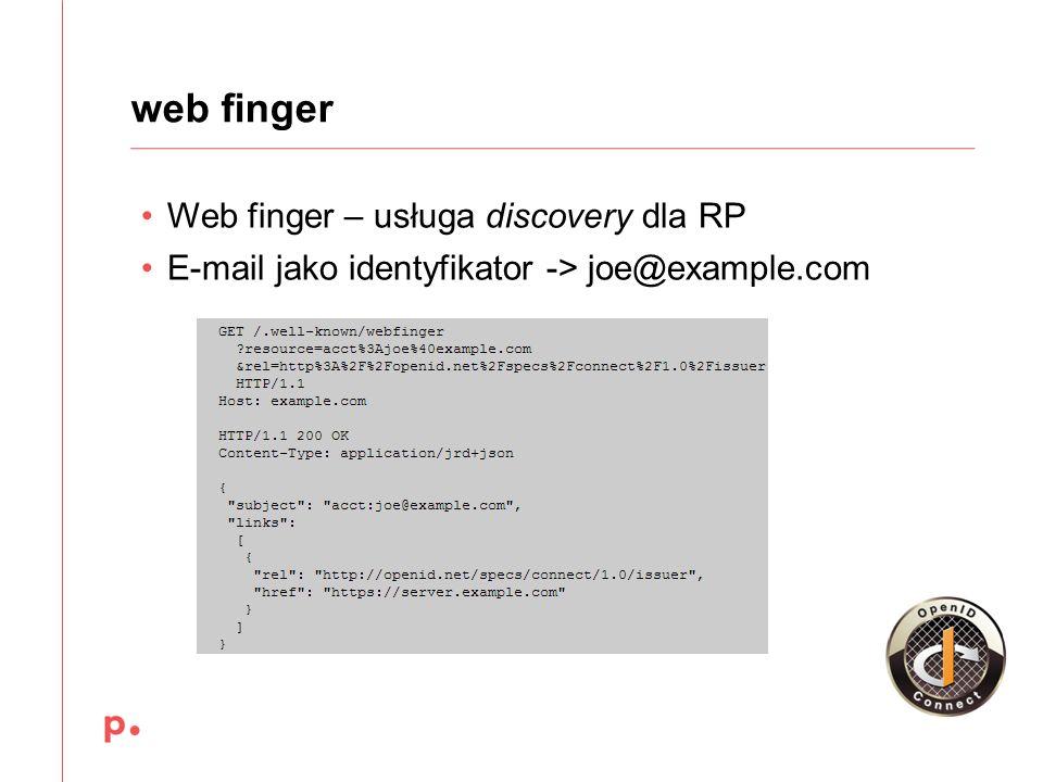 Web finger – usługa discovery dla RP E-mail jako identyfikator -> joe@example.com web finger