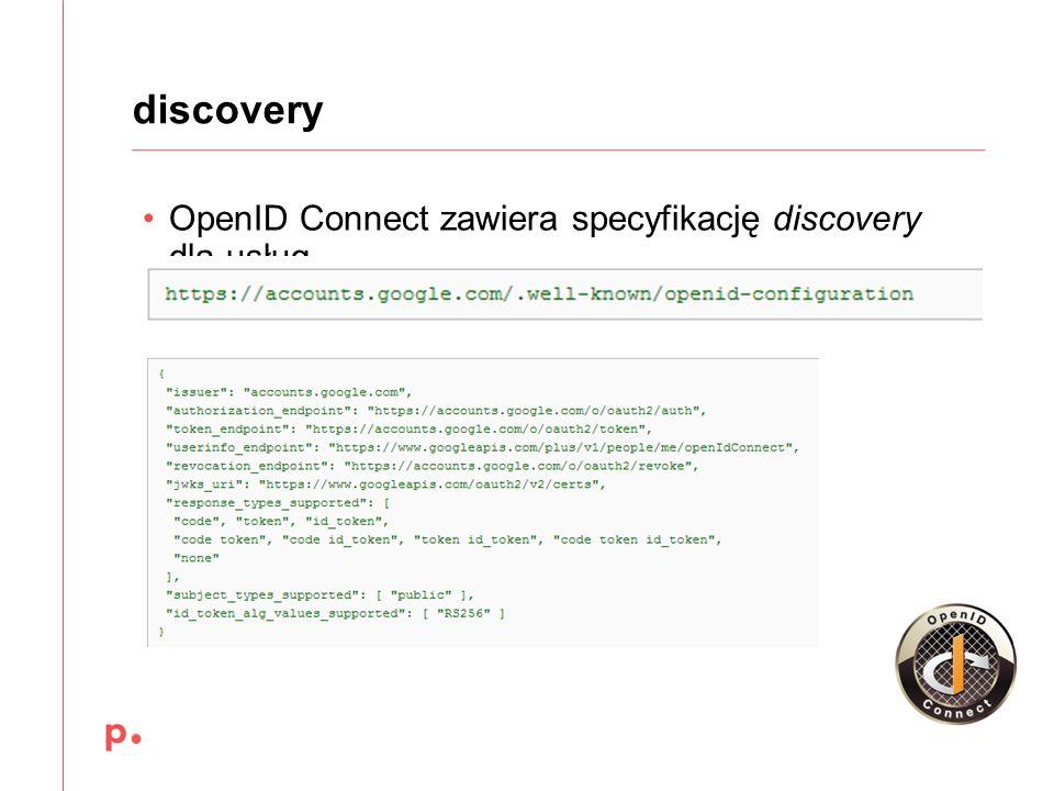 OpenID Connect zawiera specyfikację discovery dla usług discovery