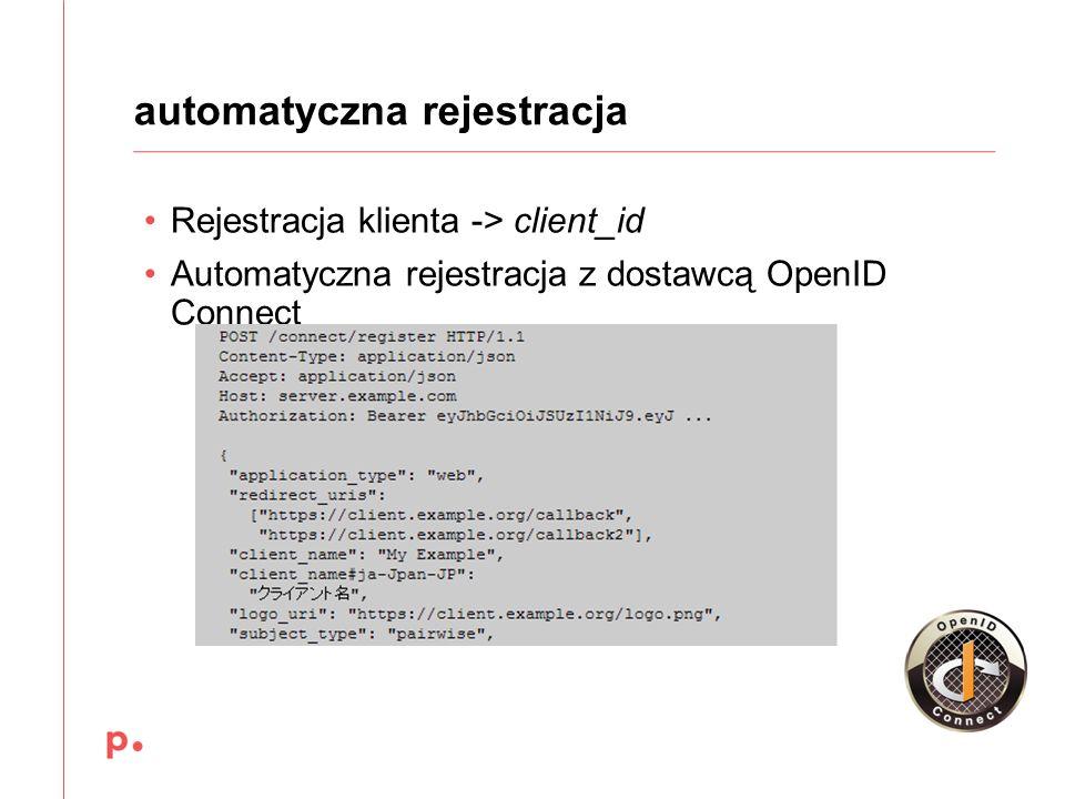 Rejestracja klienta -> client_id Automatyczna rejestracja z dostawcą OpenID Connect automatyczna rejestracja