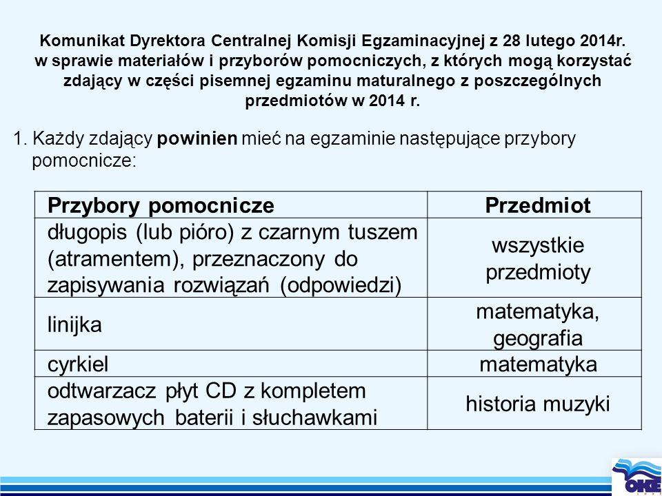 Komunikat Dyrektora Centralnej Komisji Egzaminacyjnej z 28 lutego 2014r. w sprawie materiałów i przyborów pomocniczych, z których mogą korzystać zdają