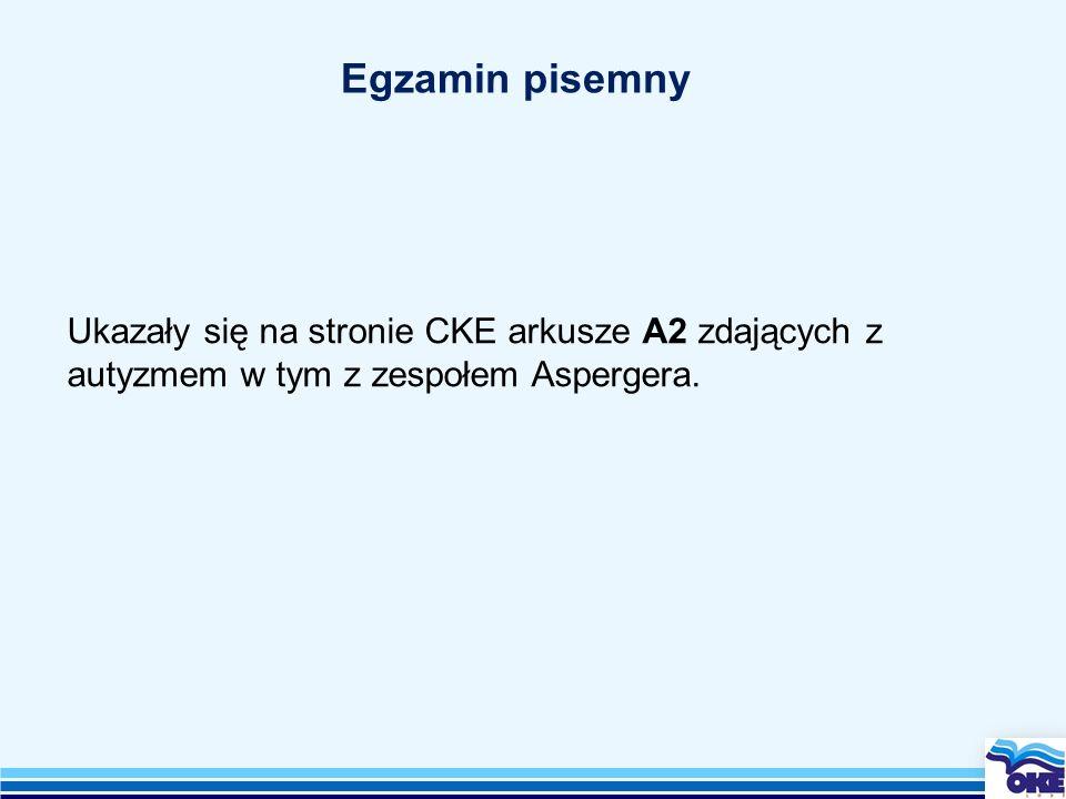 Egzamin pisemny Ukazały się na stronie CKE arkusze A2 zdających z autyzmem w tym z zespołem Aspergera.