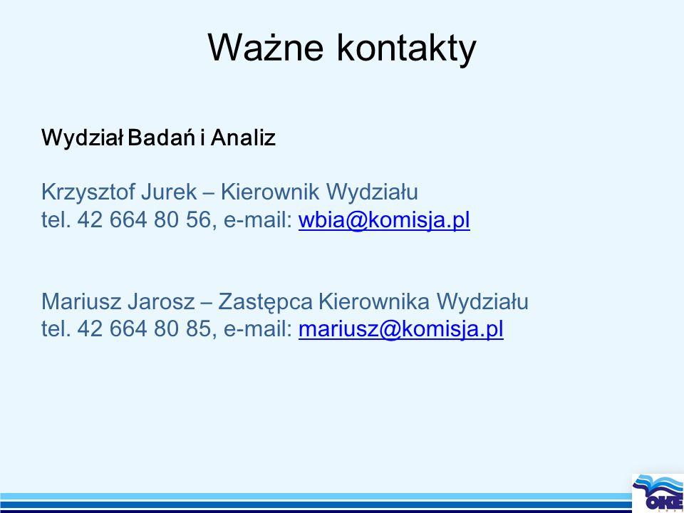 Ważne kontakty Wydział Badań i Analiz Krzysztof Jurek – Kierownik Wydziału tel. 42 664 80 56, e-mail: wbia@komisja.plwbia@komisja.pl Mariusz Jarosz –