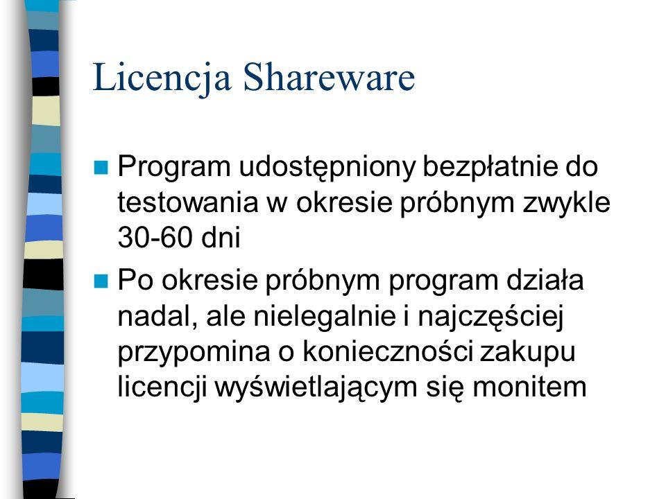 Licencja Shareware Program udostępniony bezpłatnie do testowania w okresie próbnym zwykle 30-60 dni Po okresie próbnym program działa nadal, ale niele