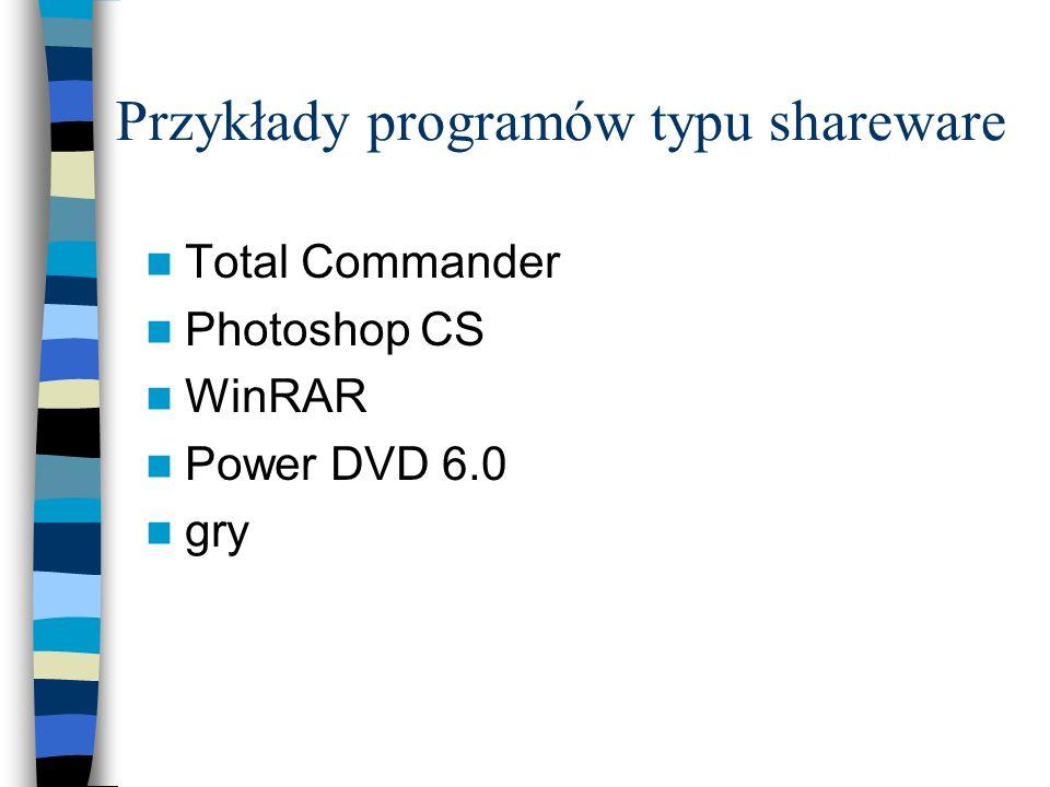 Przykłady programów typu shareware Total Commander Photoshop CS WinRAR Power DVD 6.0 gry