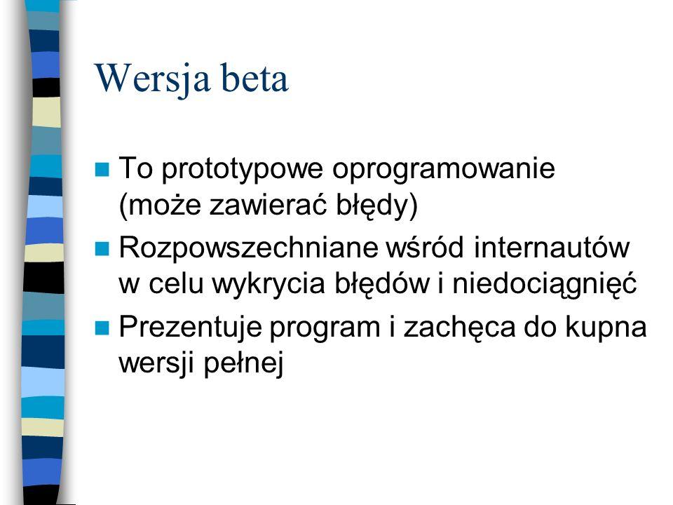 Wersja beta To prototypowe oprogramowanie (może zawierać błędy) Rozpowszechniane wśród internautów w celu wykrycia błędów i niedociągnięć Prezentuje p