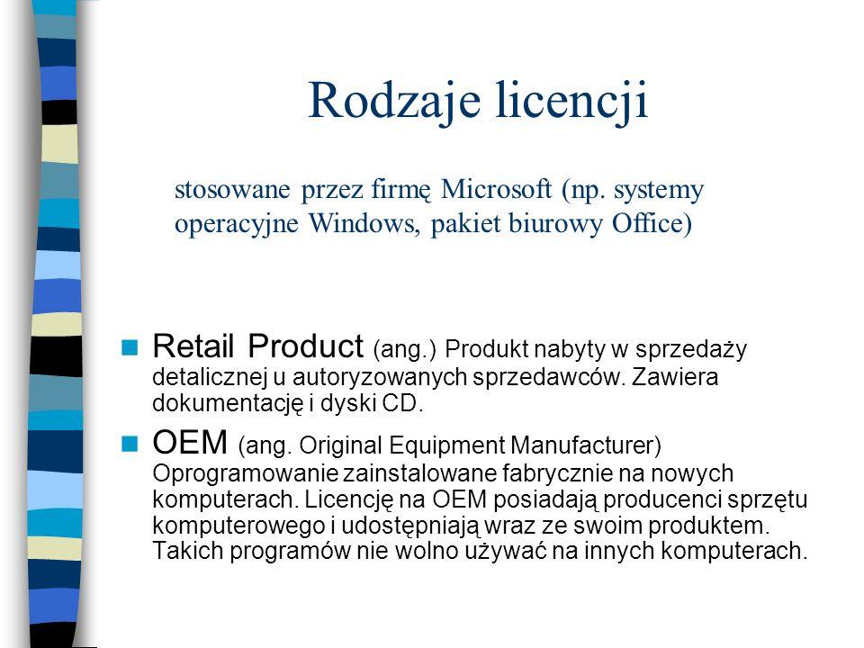 Rodzaje licencji Retail Product (ang.) Produkt nabyty w sprzedaży detalicznej u autoryzowanych sprzedawców. Zawiera dokumentację i dyski CD. OEM (ang.