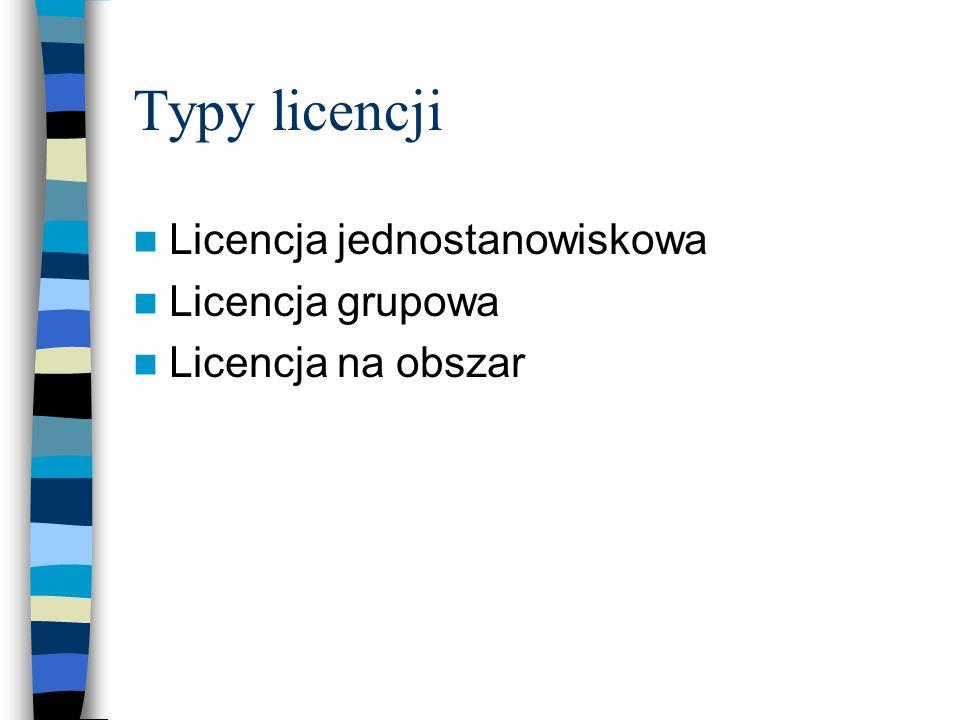 Typy licencji Licencja jednostanowiskowa Licencja grupowa Licencja na obszar
