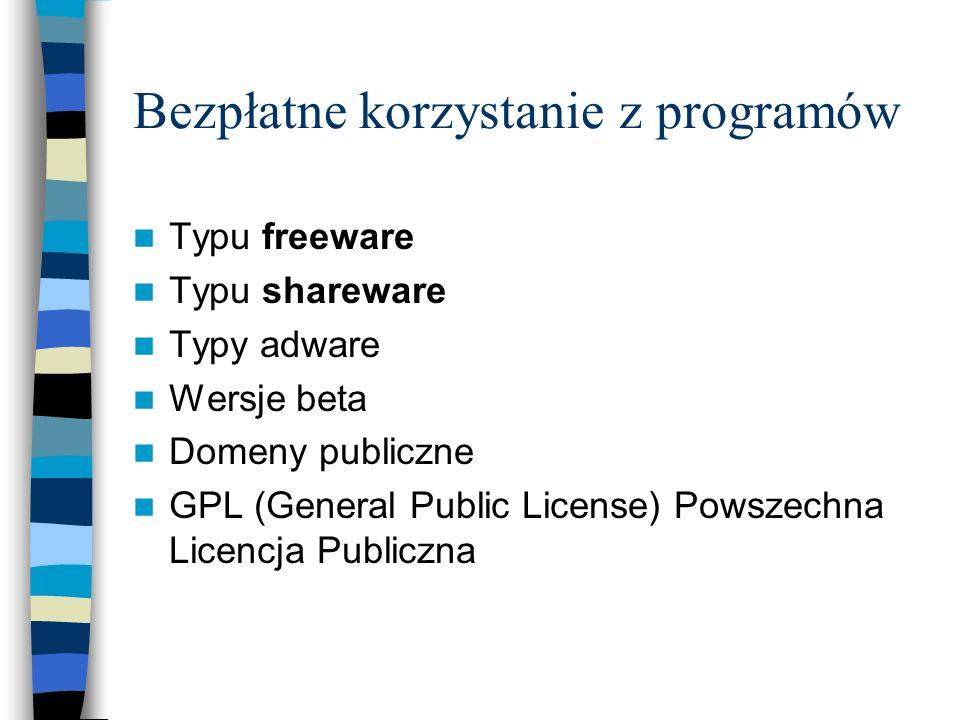 Bezpłatne korzystanie z programów Typu freeware Typu shareware Typy adware Wersje beta Domeny publiczne GPL (General Public License) Powszechna Licenc