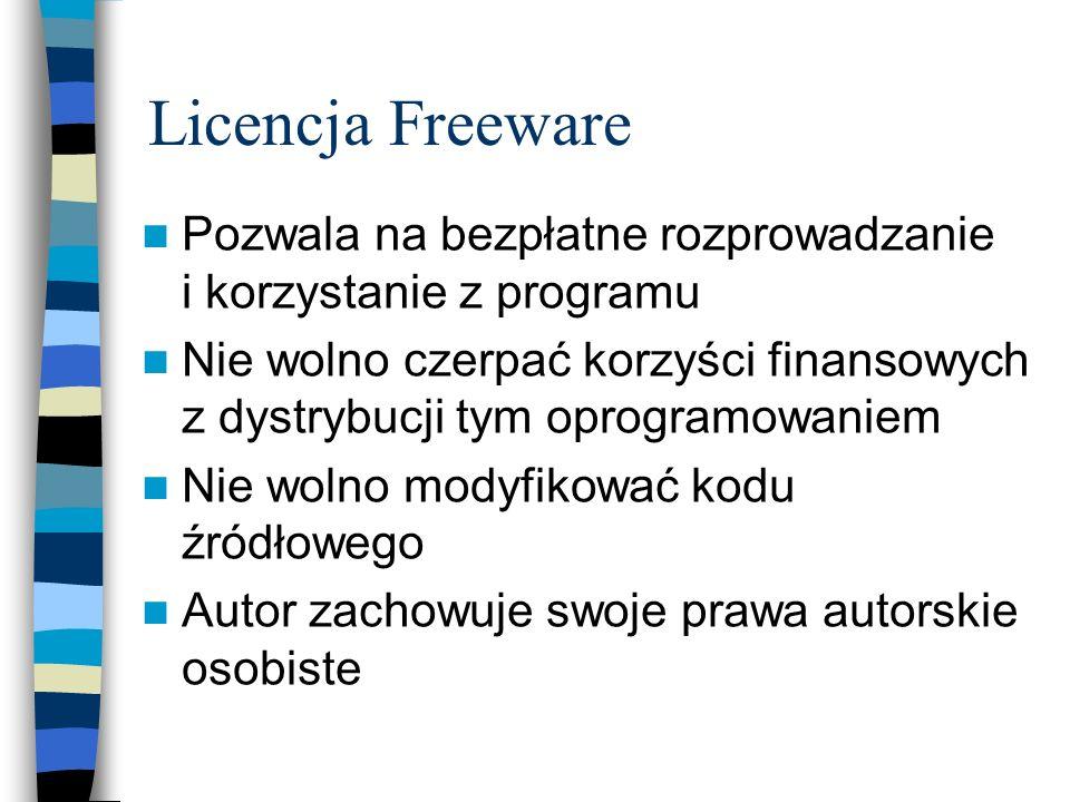 Licencja Freeware Pozwala na bezpłatne rozprowadzanie i korzystanie z programu Nie wolno czerpać korzyści finansowych z dystrybucji tym oprogramowanie