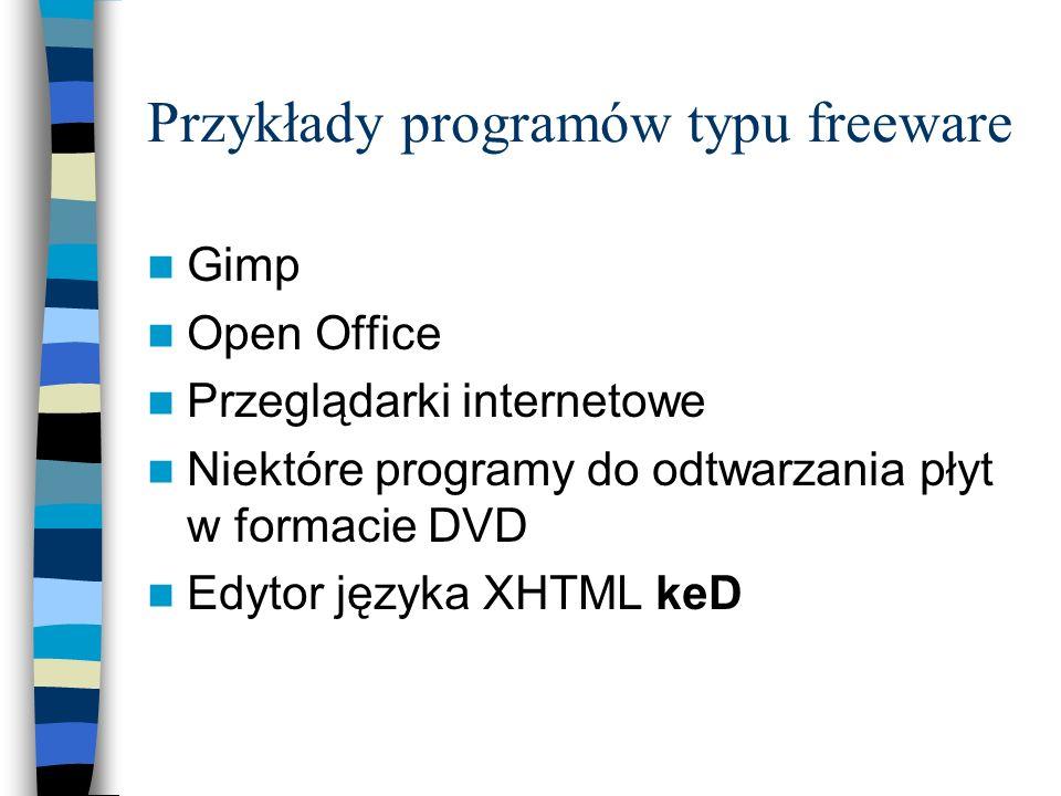 Przykłady programów typu freeware Gimp Open Office Przeglądarki internetowe Niektóre programy do odtwarzania płyt w formacie DVD Edytor języka XHTML k