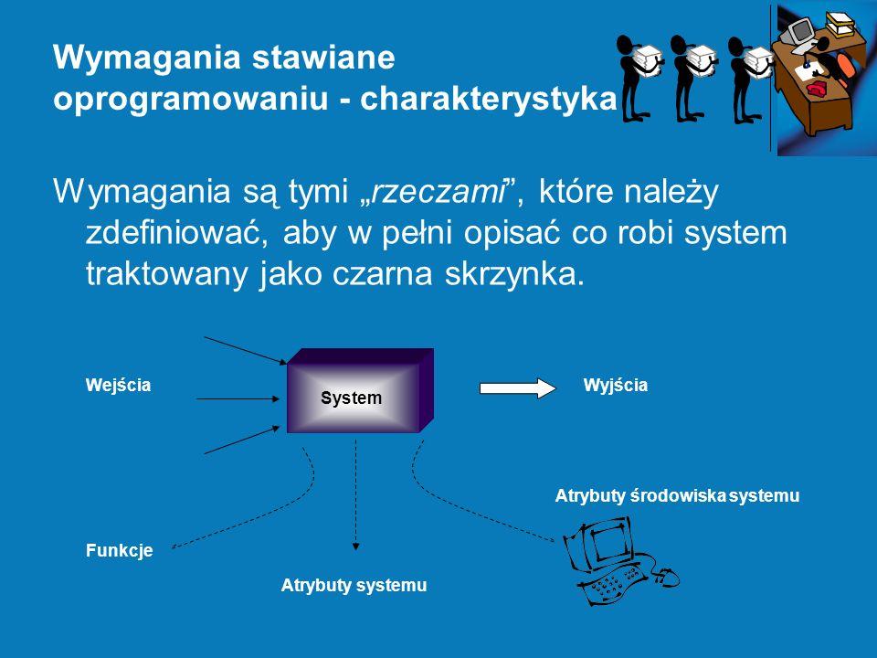Wymagania stawiane oprogramowaniu - charakterystyka Wymagania są tymi rzeczami, które należy zdefiniować, aby w pełni opisać co robi system traktowany jako czarna skrzynka.