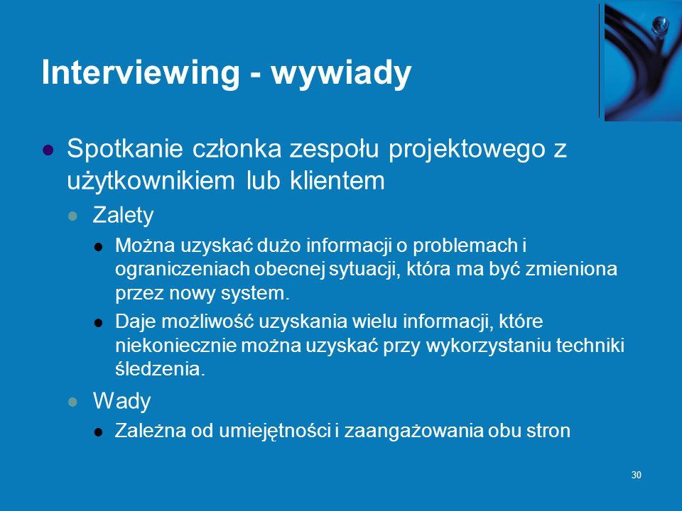 30 Interviewing - wywiady Spotkanie członka zespołu projektowego z użytkownikiem lub klientem Zalety Można uzyskać dużo informacji o problemach i ogra