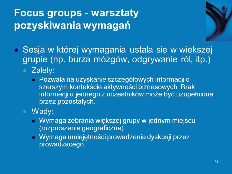 31 Focus groups - warsztaty pozyskiwania wymagań Sesja w której wymagania ustala się w większej grupie (np. burza mózgów, odgrywanie ról, itp.) Zalety
