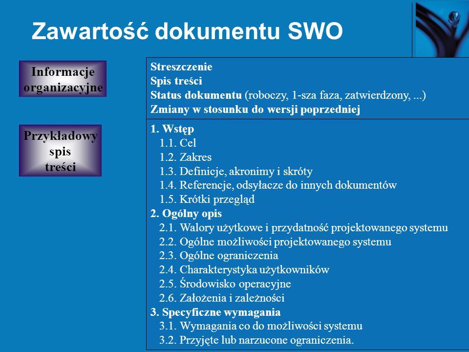40 Zawartość dokumentu SWO Przykładowy spis treści Streszczenie Spis treści Status dokumentu (roboczy, 1-sza faza, zatwierdzony,...) Zmiany w stosunku do wersji poprzedniej Informacje organizacyjne 1.