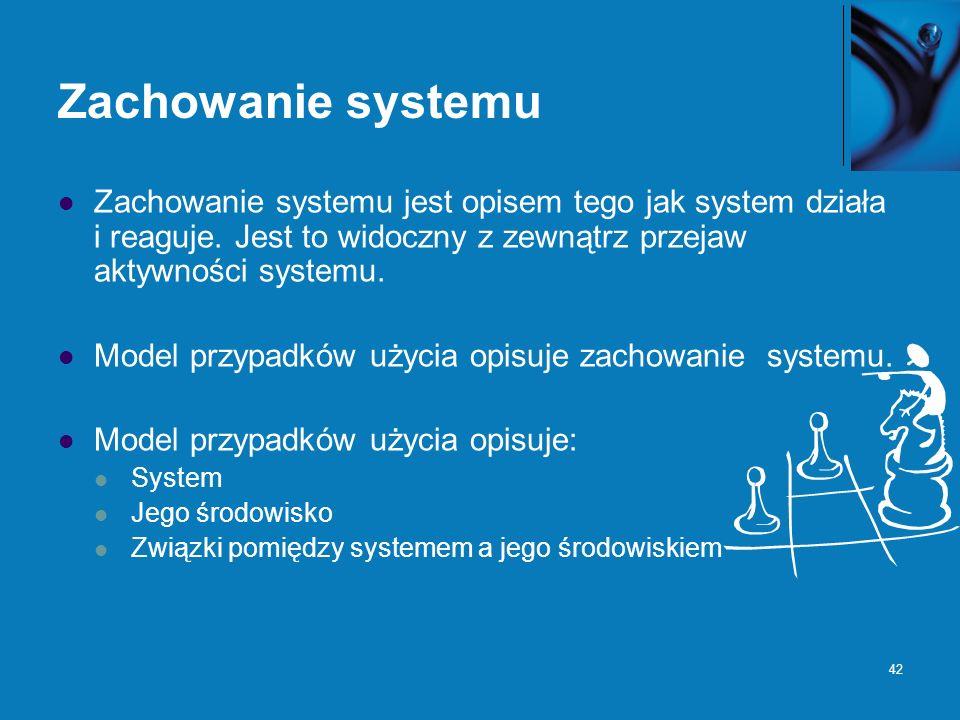 42 Zachowanie systemu Zachowanie systemu jest opisem tego jak system działa i reaguje. Jest to widoczny z zewnątrz przejaw aktywności systemu. Model p