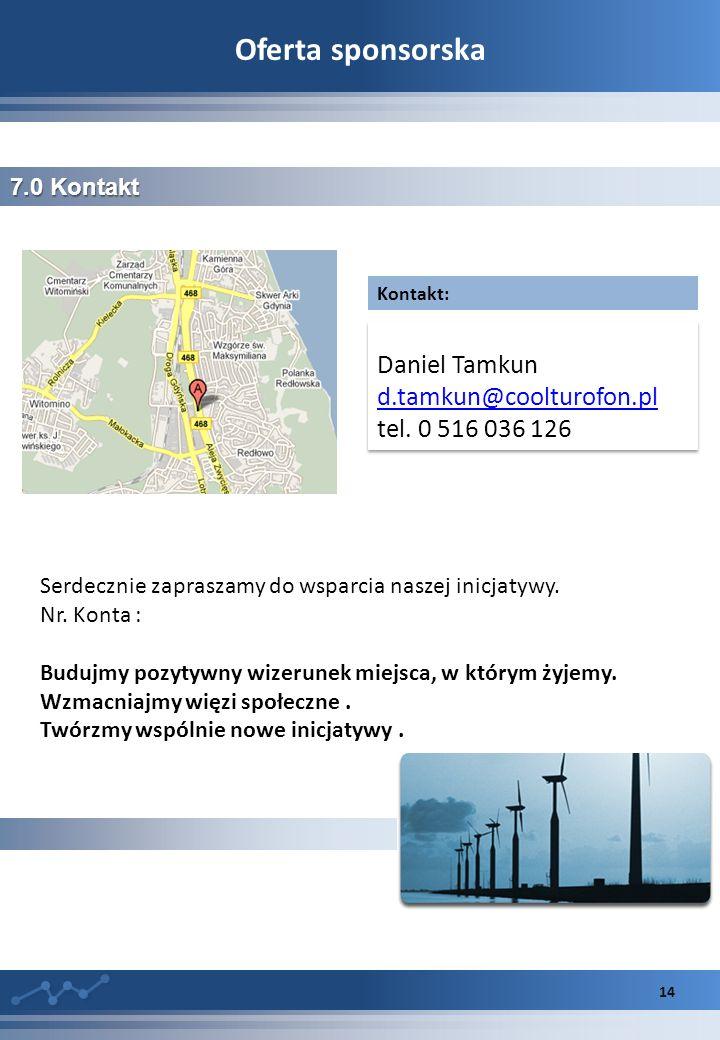 Oferta sponsorska 14 7.0 Kontakt Daniel Tamkun d.tamkun@coolturofon.pl tel.