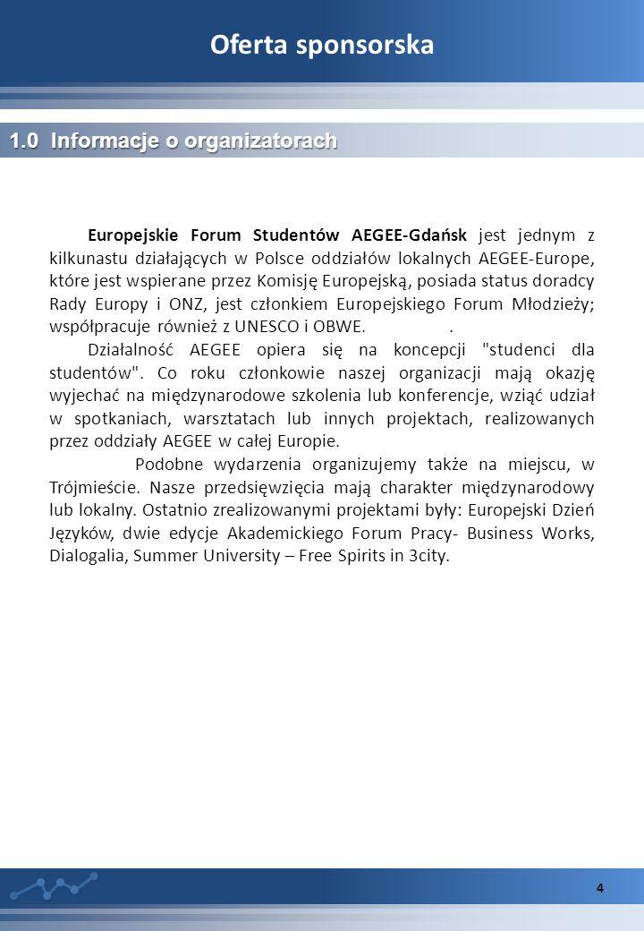 Oferta sponsorska 4 1.0 Informacje o organizatorach Europejskie Forum Studentów AEGEE-Gdańsk jest jednym z kilkunastu działających w Polsce oddziałów lokalnych AEGEE-Europe, które jest wspierane przez Komisję Europejską, posiada status doradcy Rady Europy i ONZ, jest członkiem Europejskiego Forum Młodzieży; współpracuje również z UNESCO i OBWE..