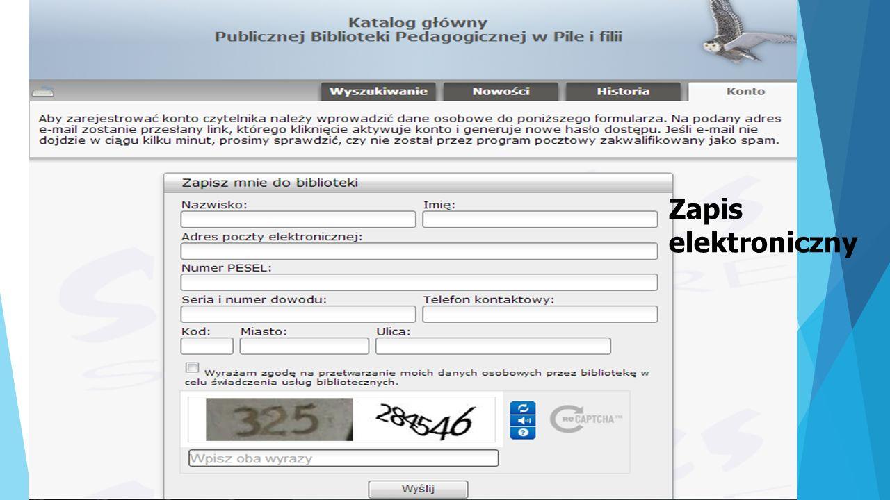 Rezerwacja książki on-line KORZYŚCI PŁYNĄCE Z KATALOGU ON-LINE: zamawianie i rezerwacja książek przez całą dobę (oszczędność czasu) Kontrola wypożyczeń (termin zwrotu, ilość wypożyczonych książek) Możliwość przedłużenia terminu zwrotu książek (prolongata) ABY ZALOGOWAĆ SIĘ NA SWOIM KONCIE: - Można odwiedzić stronę www.zlotow.bp.pila.plwww.zlotow.bp.pila.pl - Wybrać zakładkę KATALOG ONLINE, a następnie KONTO - wpisać indentyfikator (nazwisko i imię lub numer karty bibliotecznej) oraz hasło podane bibliotekarzowi - I GOTOWE